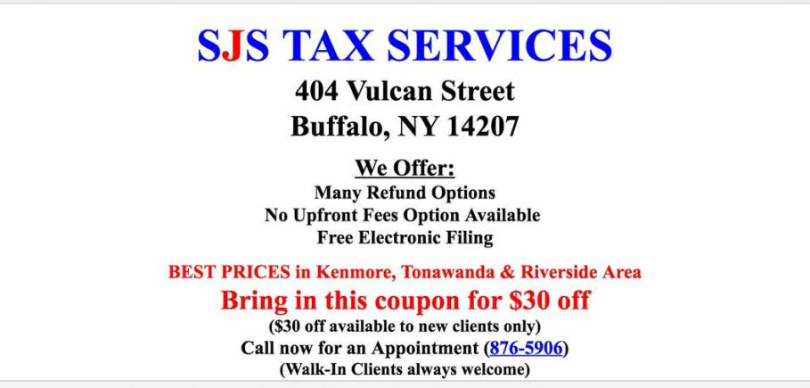 SJS Tax Services  Coupon Buffalo Erie County